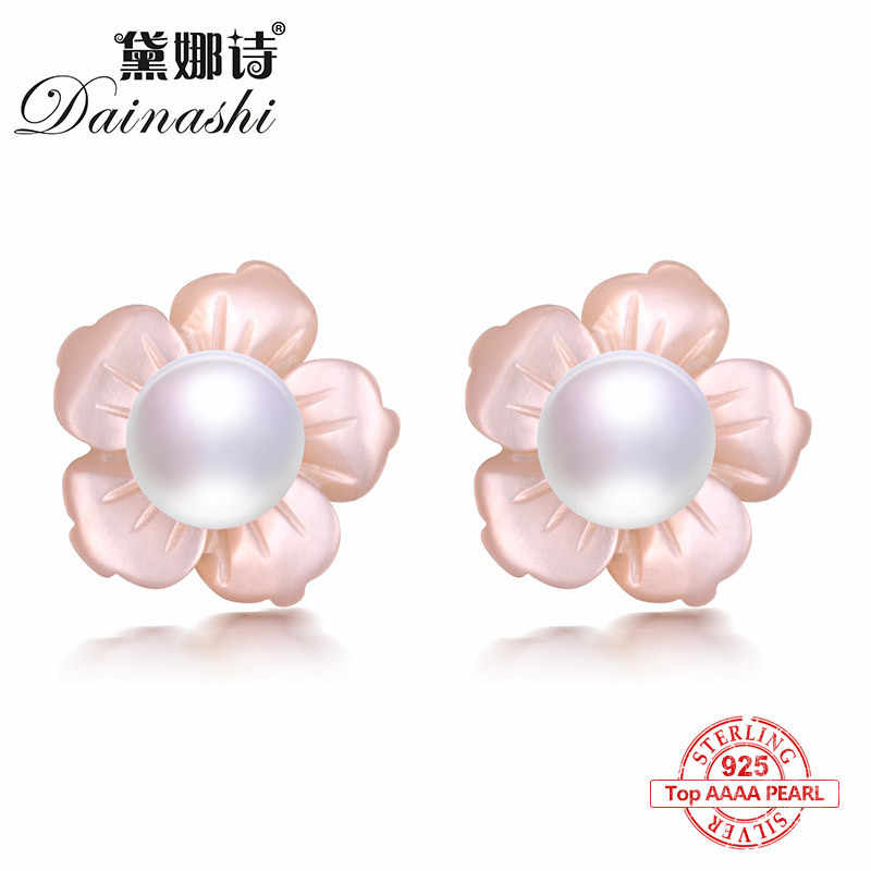 Dainashi Pink Plum Flower Shell Pearl Stud Earrings AAAA Freshwater Bread Round Pearl Trend Stud Earrings For Women Jewelry2018