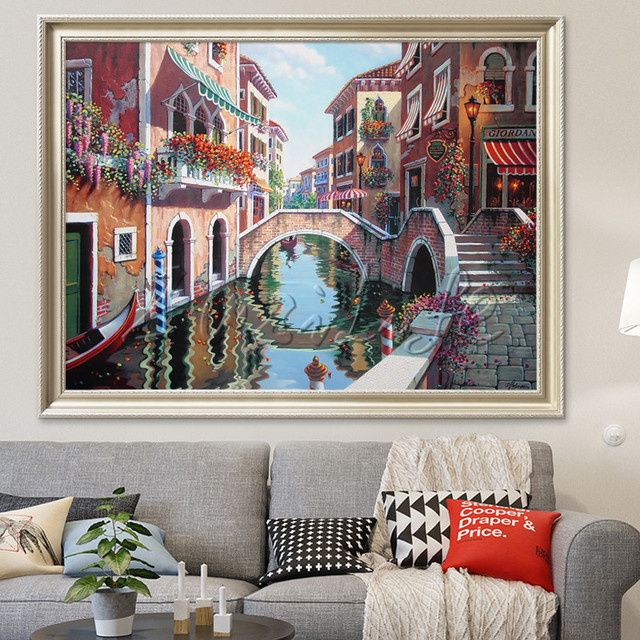 Toile Peinture Italien Venise Paysage Peinture à Lhuile Mur Art