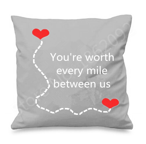 Long Distance Relationship Pillow.Us 13 49 10 Off Long Distance Relationship Throw Pillow Case Quote Long Distance Love Cushion Cover Worth Every Mile Valentine Anniversary Gift In