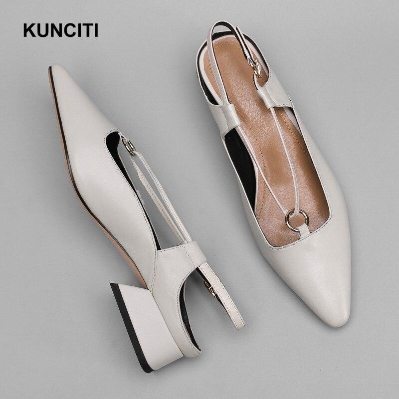 2019 Gladiator Sandals Women Genuine Leather Ladies Summer Shoes Slingback Med Heel Korean Shoes Buckled Fashion