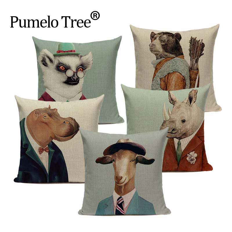 High Quality Throw Pillow Case Personalized Dog Deer Pillows Cushions Home Sofa Decor Linen Custom Cartoon Print Cushion Cover