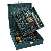 European Style Double Layer Makeup Organizer Wooden Flock Jewelry Storage Box Gift Boxes Boite Bijoux Rangement