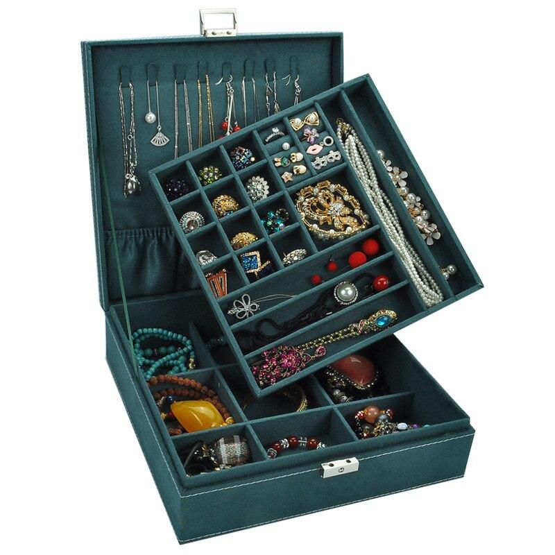 Style européen Double couche maquillage organisateur en bois troupeau Bijoux boîte de Rangement cadeau boîtes Boite Bijoux Rangement