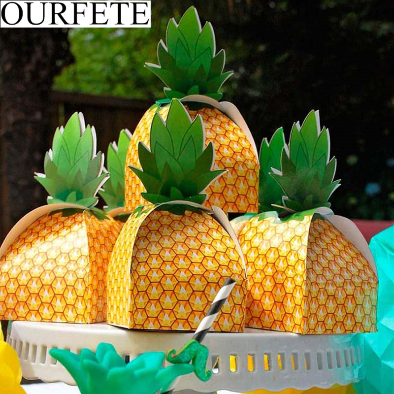 5PCS DIY Paper Pineapple Box Wedding Decorations Kids Birthday Beach Party Favors Gift Candy Boxes Luau Hawaii Party Supplies(China)