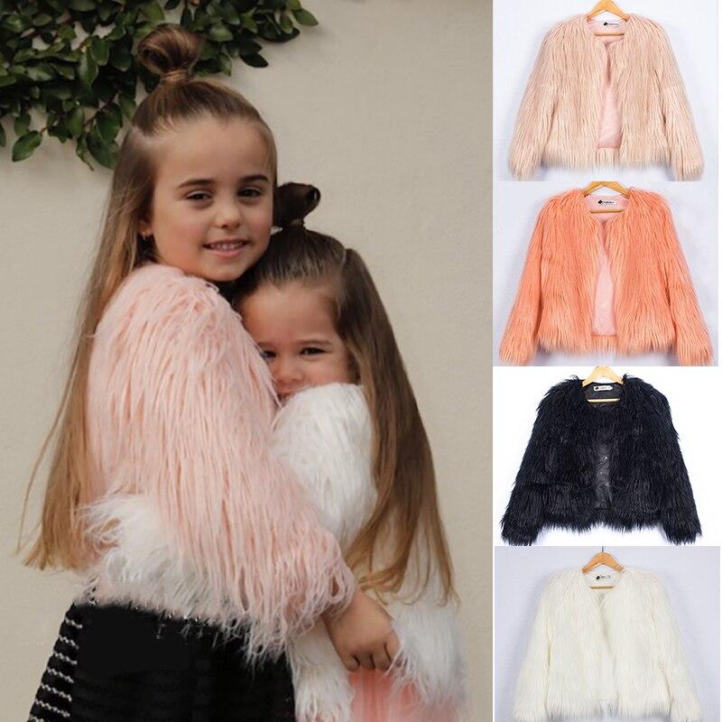 2018 Herbst Kinder Pelz Jacken Für Mädchen Parkas Wasserfall Baby Mädchen Faux Pelzmantel Prinzessin Mädchen Pelzmantel Kinder Oberbekleidung 2-10y