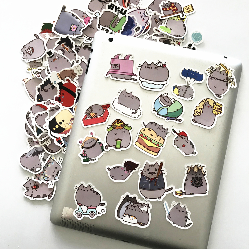 Image 4 - TD ZW 2019 100Pcs Cartoon Cat Stickers Decal For Snowboard Laptop Luggage Car Fridge DIY Styling Vinyl Home Decor Pegatina-in Stickers from Toys & Hobbies