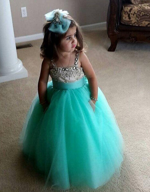 Spaghetti Lace Ankle Length Tulle Ball Gown Baby Girl Birthday Party ...