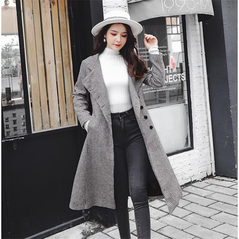 8564ade05aa Winter Coat Women Wool Plaid Long Coat 2018 Vintage Fashion Korean Women  Cashmere Coat Pockets - Fortuna Brands