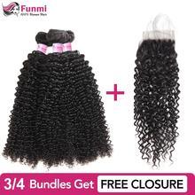 купить!  Купить вьющиеся пучки человеческих волос Получите бесплатное закрытие Малайзийские пучки вьющихся