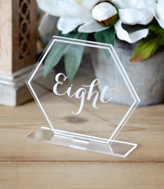 Acrylic rectangle or circle table standing numbers, Clear Acrylic Wedding Table Numbers wedding Table decoration , Freestanding