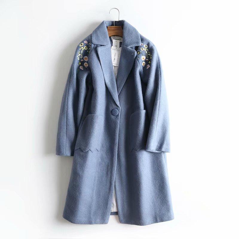Double Bleu Poches Manteau 2019 Gratuite blanc Arrivée Nouvelle Tempérament Chic Coréen Livraison Laine Femmes Style Hiver Long Broderie Floral qT7qO1wr