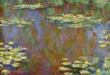 100% handmade landscape oil painting reproduction on linen canvas,water-lilies-1907 by claude monet,Free DHL Shipping