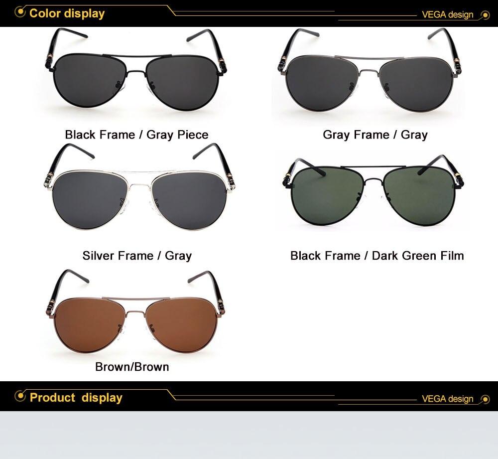 e60608783 Gafas de sol clásicas de la aviación de VEGA gafas de sol polarizadas  auténticas de la Fuerza Aérea de la Marina hombres mujeres gafas de piloto  con la caja ...
