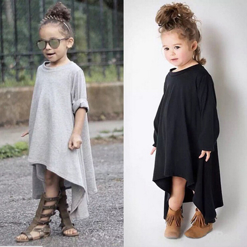 Baby Girl Autumn Dress Max Batwing Loose Asymmetric Long Sleeve Girl Dress For Kids Costume Casual Black and Gray batwing sleeve pocket side curved hem textured dress