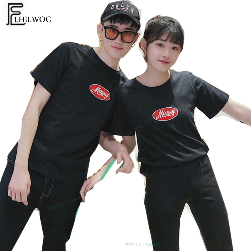 82e55e95da03 Lovers T Shirts Matching Couple Clothes Summer Printed Casual Tops White  Black Cotton Cute Sweet Korea Japan Couple T Shirt 601-in T-Shirts from  Men s ...