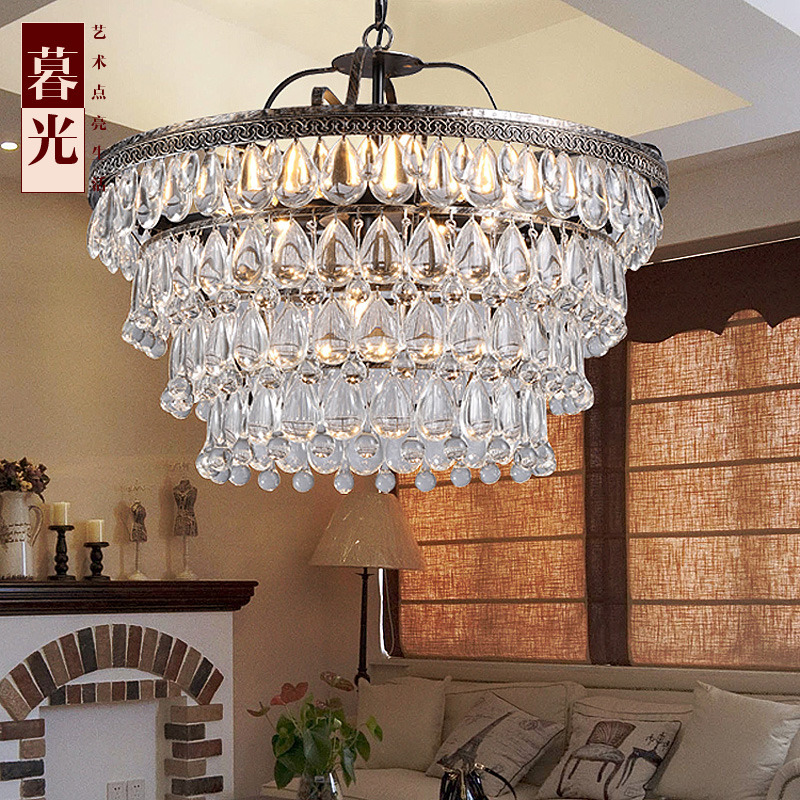 Boreal Europe Style Crystal Lighting For Bedroom Foyer Iron retro Dining Room pendant lights Modern Simple With E14 LED Bulbs white crystal pendants chandeliers lights vintage pendant lamp for living room bedroom europe style pendant lamps home lighting