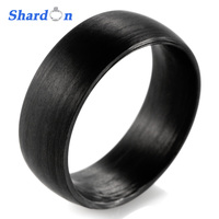 SHARDON Domed 8mm Solid Black Carbon Fiber Ring With Matte Finishing Wedding Band men jewelry ring black