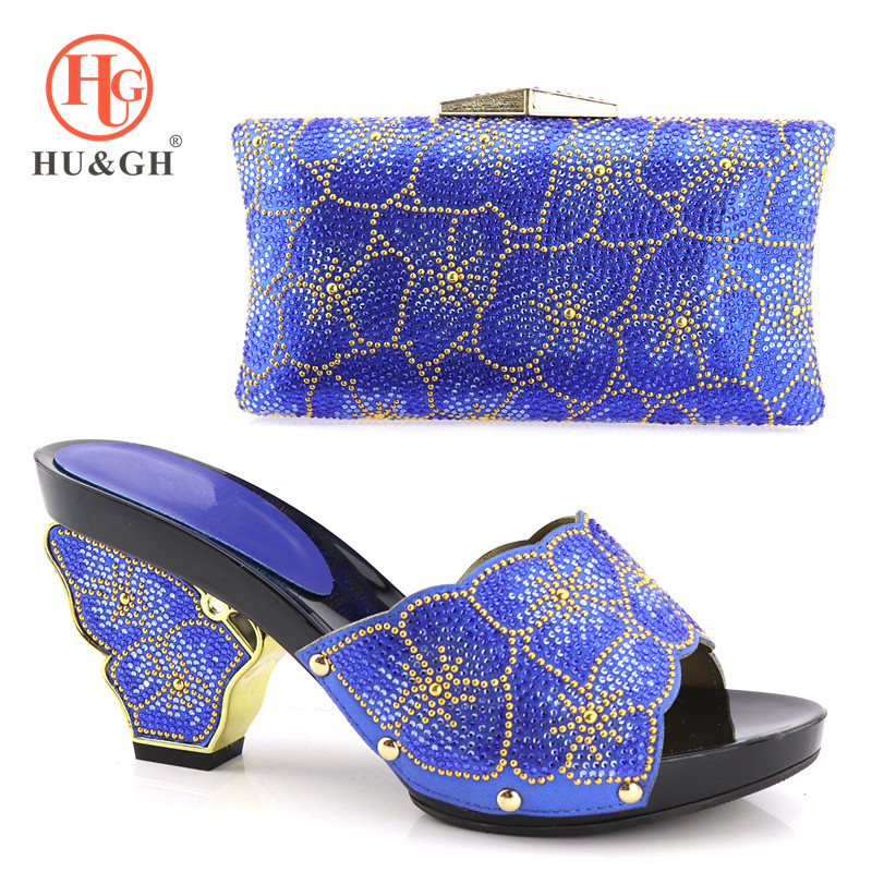 New Arrival Italian Shoes With Matching Bag Set For Wedding Party Fashion Women Pumps African Shoes and Bags for ladies In Blue african fashion shoes with matching bag set for wedding party italian design nigeria women pumps shoes and bags mm1060