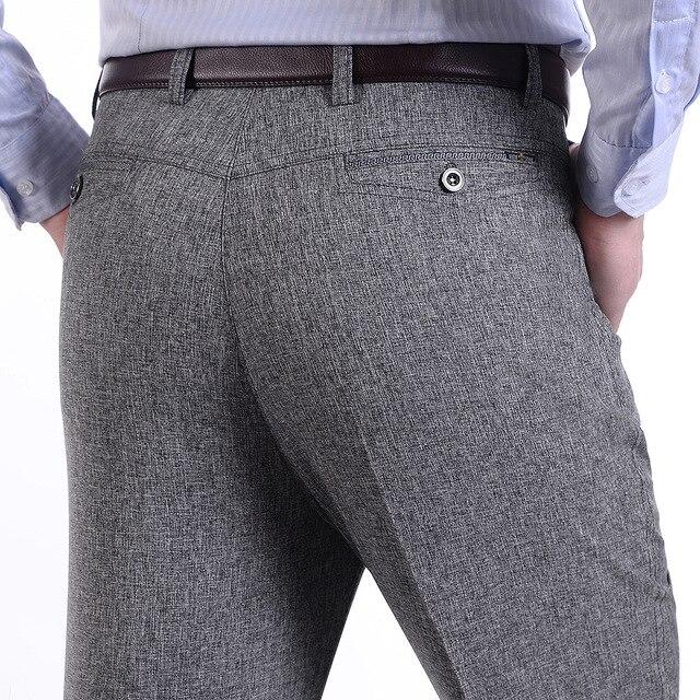 Весна лето твердые тонкие брюки среднего возраста мужской деловой случай брюки свободные прямые брюки homme hiah качество брюки