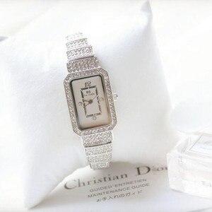 Image 2 - 2019 nova mulher quente relógio de strass senhora diamante vestido de pedra relógios pulseira de aço inoxidável relógio de pulso senhora relógio quadrado