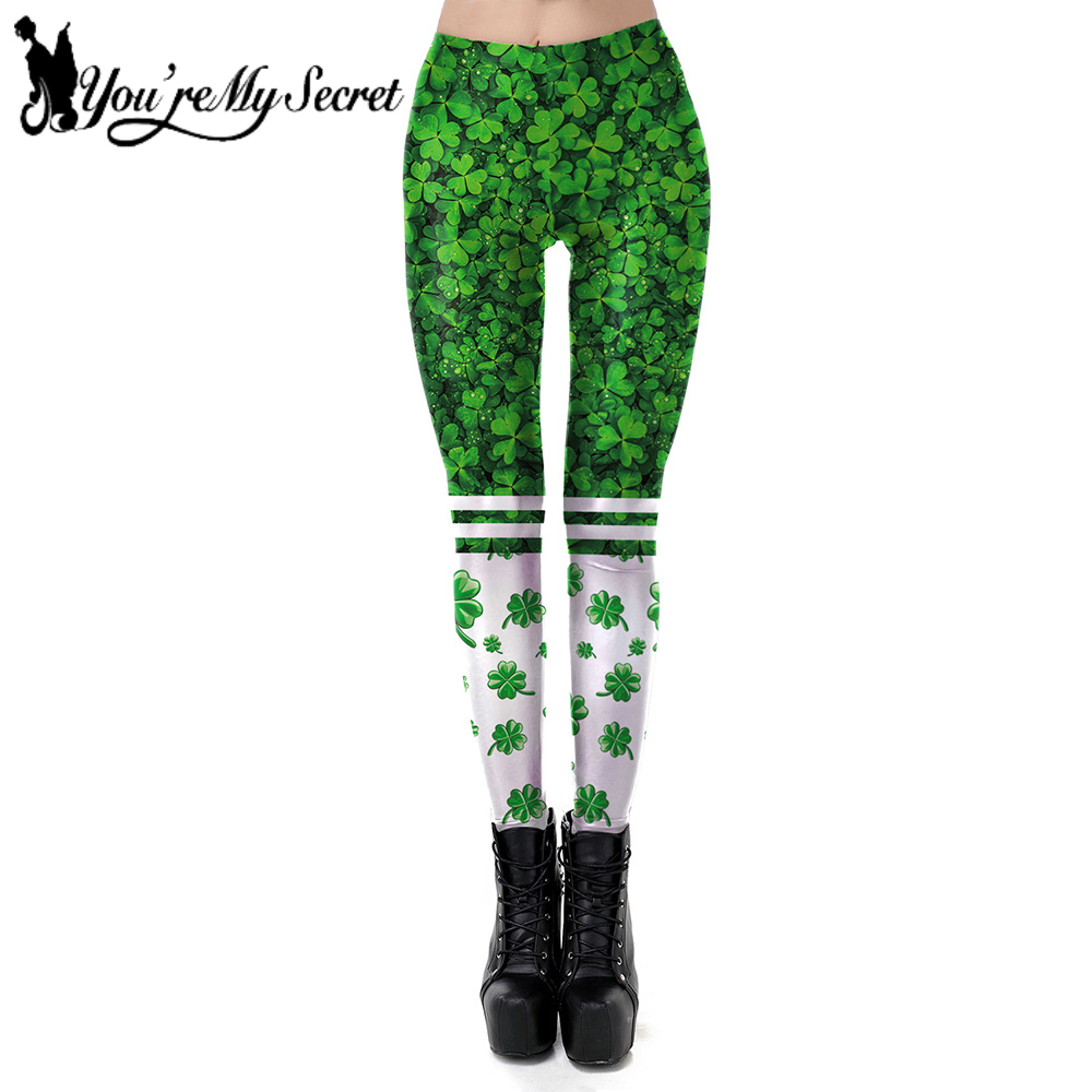 [You're My Secret] NEW St Patrick's Day Design   Leggings   Women Green Four Leaf Clover Luck Pants Fitness Elastic Party   Leggings