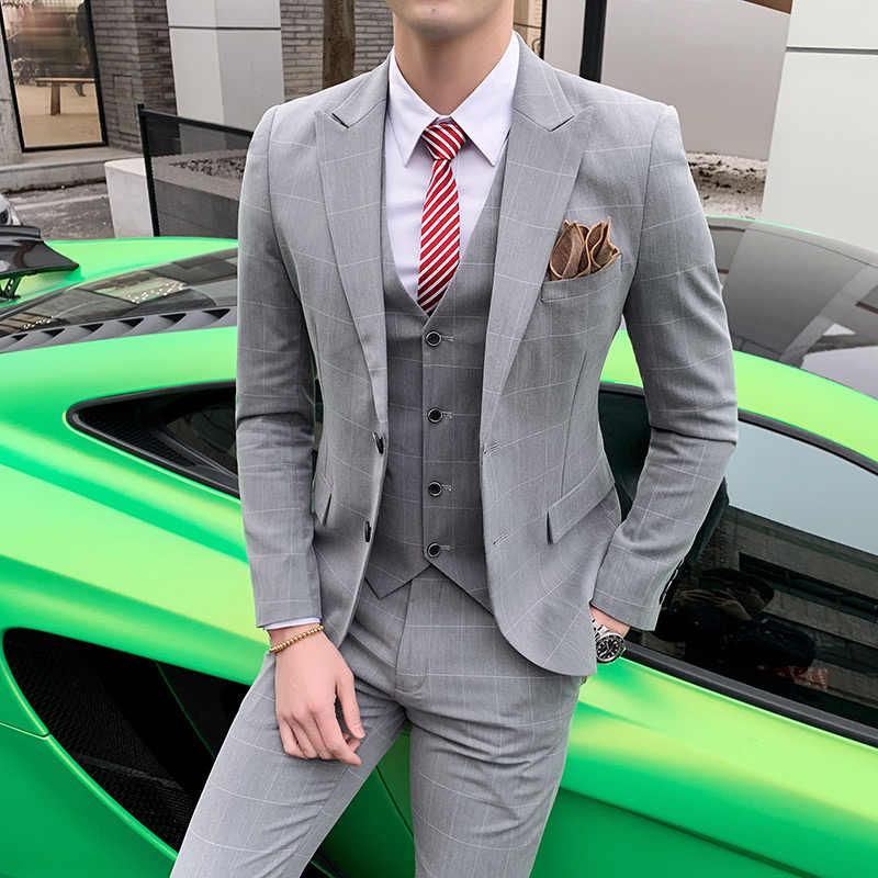 На заказ Весенний костюм, мужской Клетчатый костюм для отдыха, мужской костюм, три костюма, свадебное платье, деловые костюмы шафера