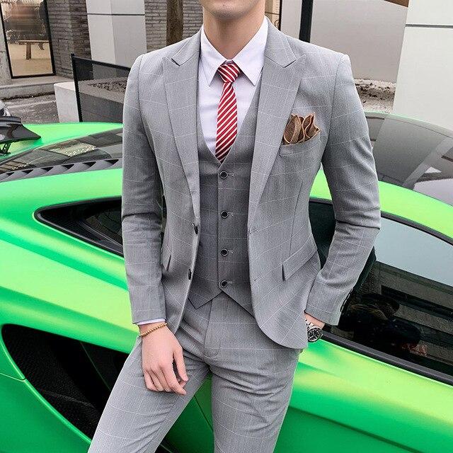 Personalizado Primavera terno terno terno, Xadrez lazer terno dos homens, terno dos homens, três ternos, vestido de noiva, vestido padrinho de casamento de negócios