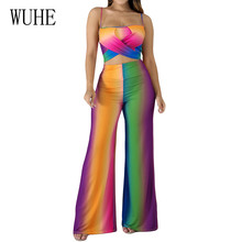 WUHE Fashion Vintage Two Pieces Sets Colorful Printed Jumpsuits Summer Women Rompers Sexy Sleeveless Hollow Out Retro Playsuits