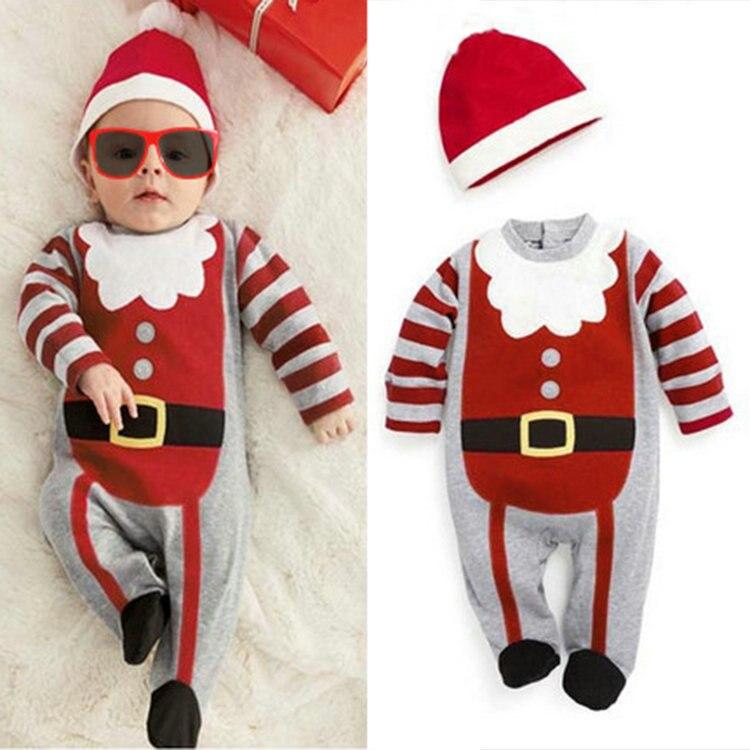 Cute Baby Christmas Santa Claus Clothes Infant Pajamas Romper ...