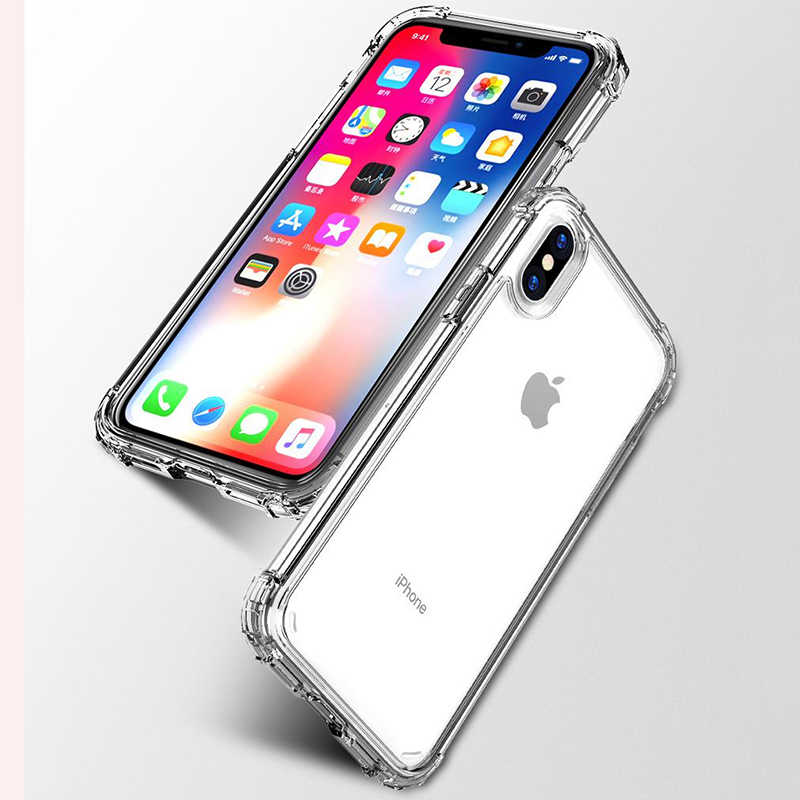 高級耐震バンパー透明シリコーン電話ケース iphone 8 7 6 6 S プラス X XS XR XS 最大クリア保護バックカバー