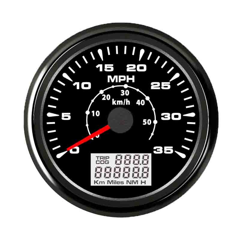 High quality For Motocycle Auto Truck Boat Yacht With Backlight 9-32V0-15MPH/0-35MPH Car Marine 85mm GPS Speedometer 100% brand new gps speedometer 60knots for auto boat with gps antenna white color