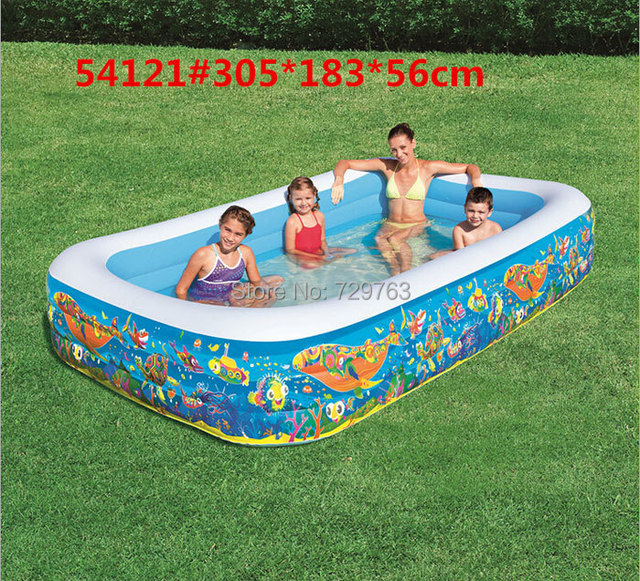 US $69.99 |Bestway 54121 Rectangle Large Inflatable Children Pool Family  Swimming Pools Toys 305cm*183cm*56cm-in Inflatable Bouncers from Toys & ...