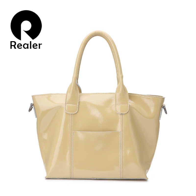 6c1f7e6666a2 Realer женские сумки из мягкой лакированной кожи с короткими ручками сумка  на плечо высокого качества для