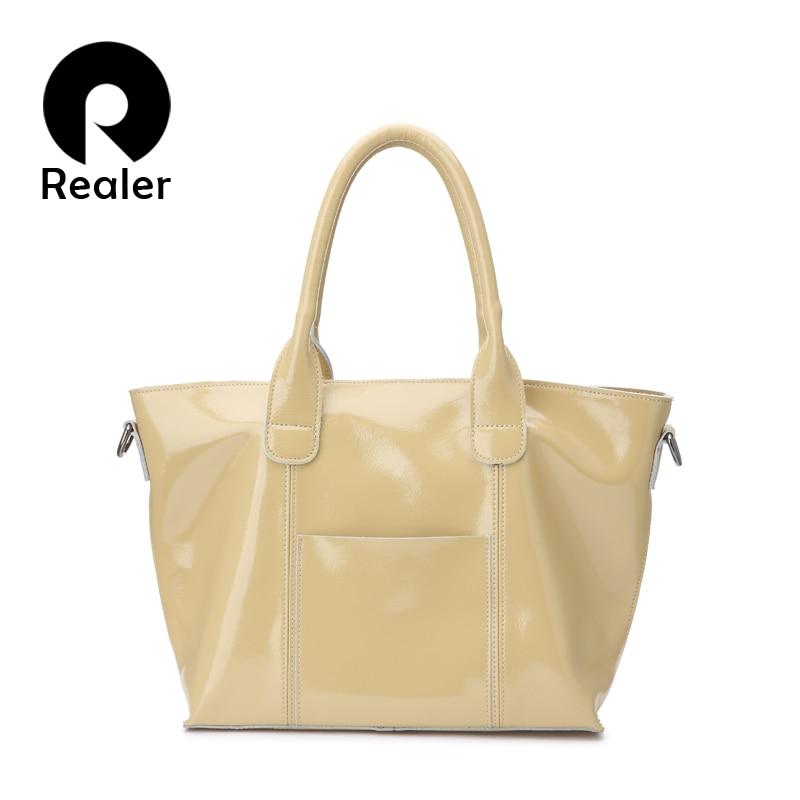 Realer женские сумки из мягкой лакированной кожи с короткими ручками сумка на плечо высокого качества для женщин сумка через плечо с карманами дамы Сумки с ручками      АлиЭкспресс