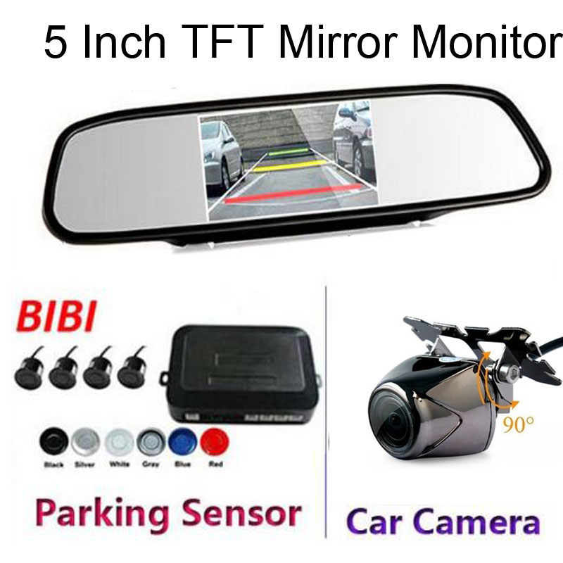 2017 Dual Core CPU Parking sensors 4 Radars Black Car Mirror Monitor With Rear View Camera Parking Assistance Kit Free shipping car rear trunk security shield cargo cover for hyundai tucson 2006 2014 high qualit black beige auto accessories