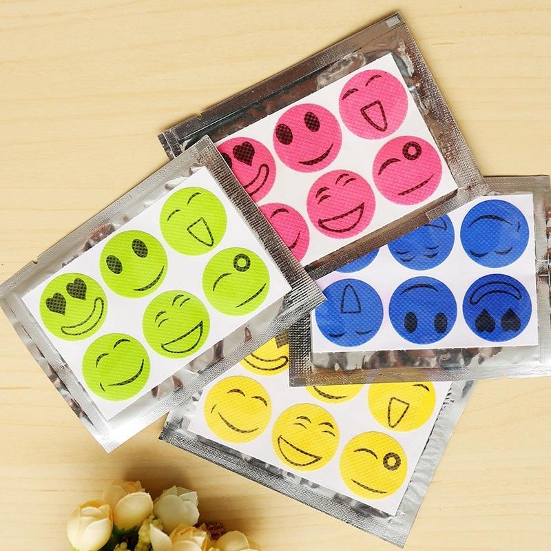 Insect Cartoon Smiley Stickers / Baby Mosquito Repellent Paste  Parfum Prevent Mosquito Bites Z11