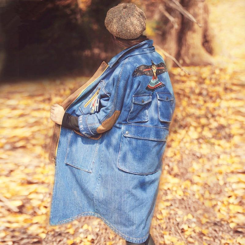 Autumn Winter Women Original Design Novelty Personality Embroidery Loose Long Denim Cotton Padded Jacket