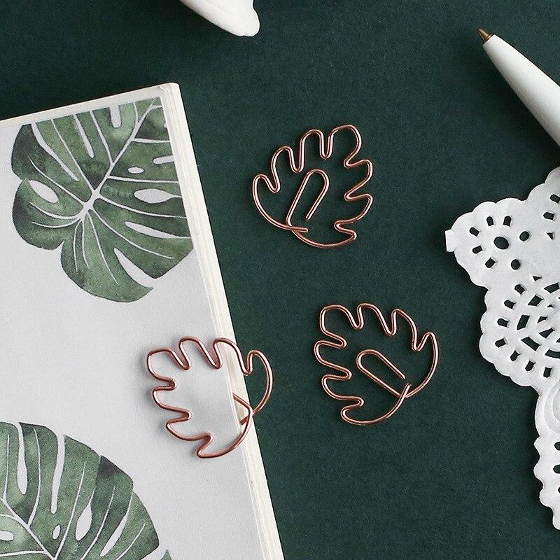 8pcs/set Petal Bookmark Metal Paper Clip Decor Rose Gold Colorfur Book Note Decoration Binder Clip Stationery School Office Gift