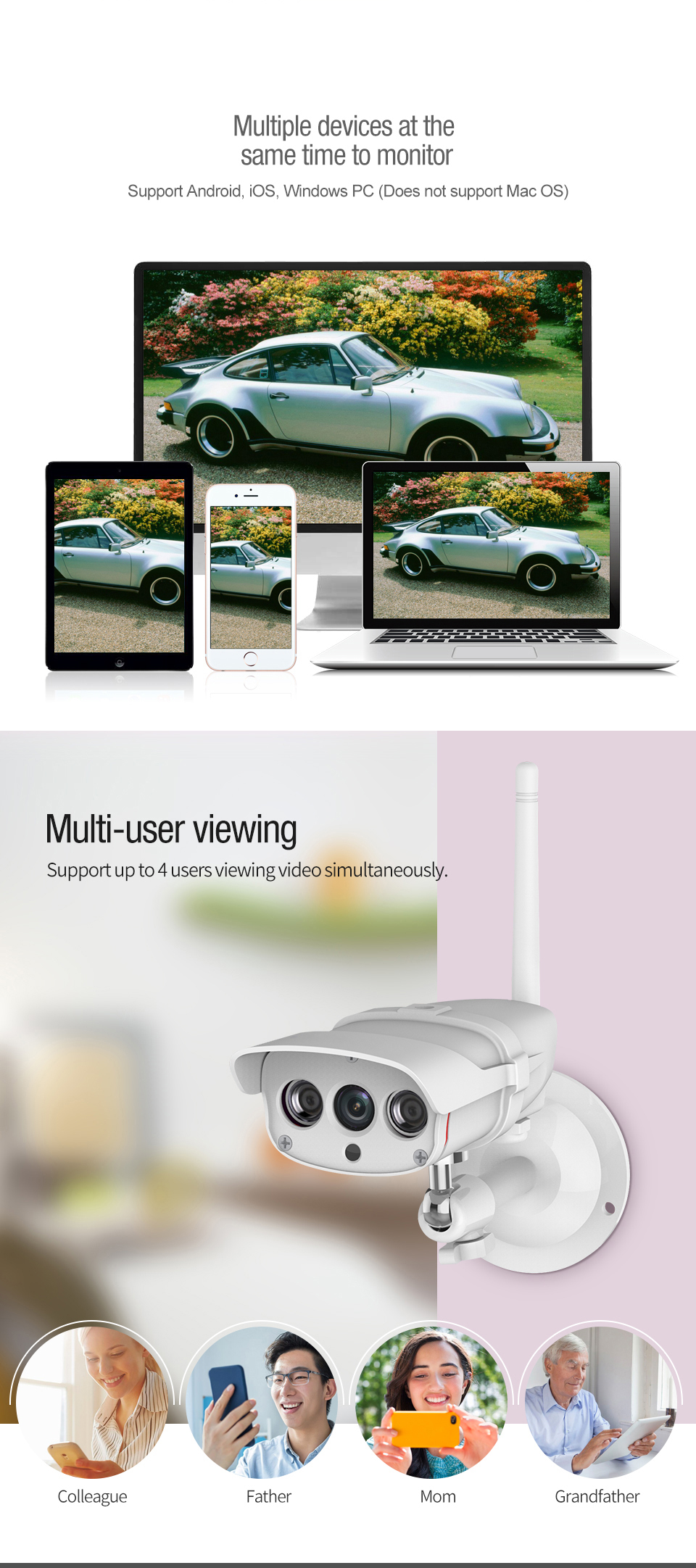 1080P Wifi IP Camera Wireless Waterproof Outdoor 2mp IR-Cut Home IP Security Surveillance For Smart Home  Intelligent technology