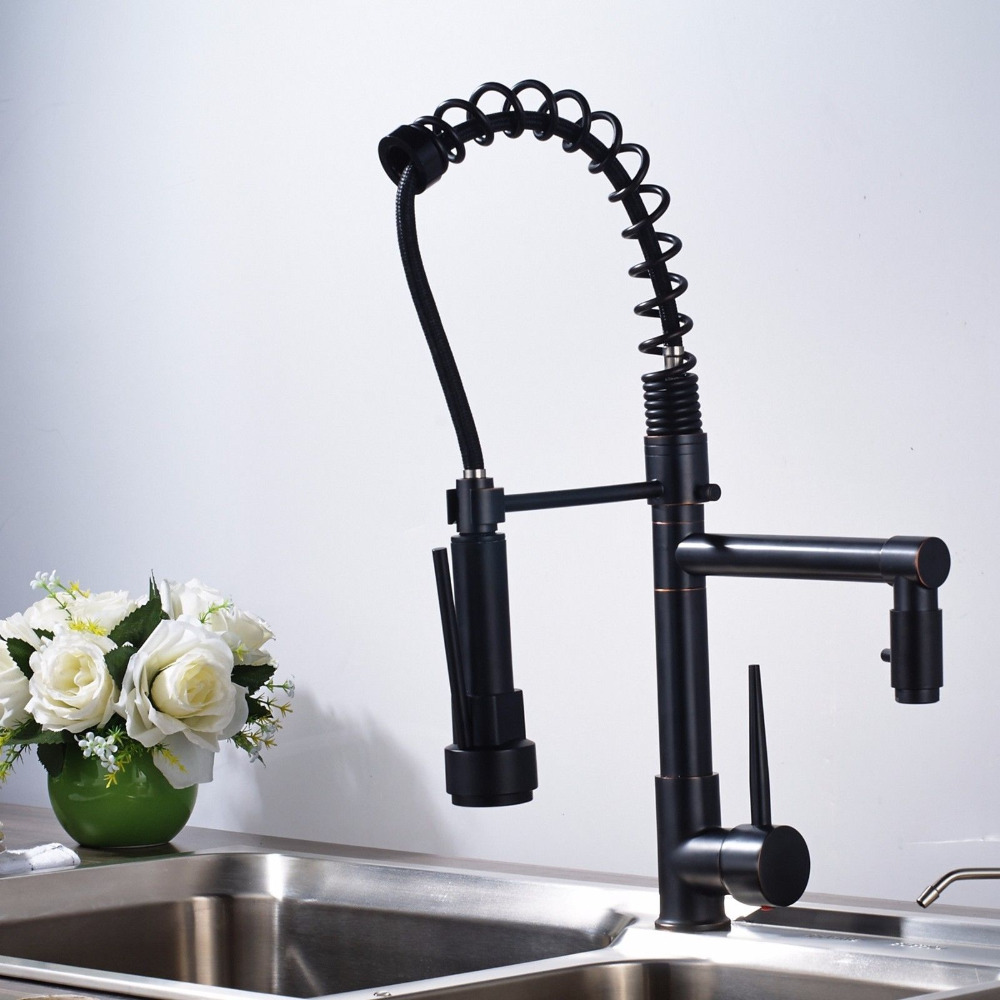 Kitchen Faucet Oil Rubbed Bronze Single Handle Faucets Pull Down Faucet 360 Degree Rotation Faucet Kitchen Taps Crane for Sinks