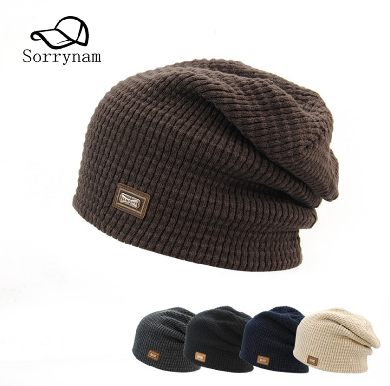651b7f6be9f57 New Fashion Male Cap Men Beanie Caps Boys Winter Hats For Man Knitted Beanies  Hat Small Sign Solid Color Caps Man S And Women