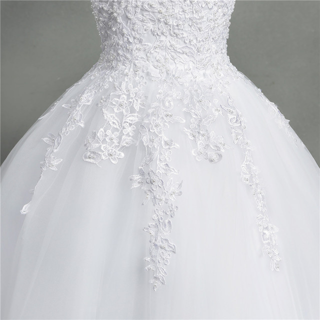 ZJ9145 2020 new White Ivory Elegant Ball Gown Off Shoulder Wedding Dresses for brides Lace sweetheart with lace edge Plus Size 6
