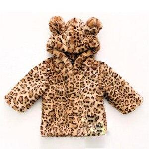 Image 1 - 2019 חורף תינוק תינוקת בגדי פו פרווה מעיל חם ילדי מעיל חג המולד חליפת שלג הדפס מנומר הלבשה עליונה כותנה מרופדת ילדים