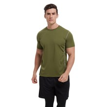 Men Casual Short Sleeve Breathable Bottoming Shirt Round Collar T-shirt Solid Color Tops