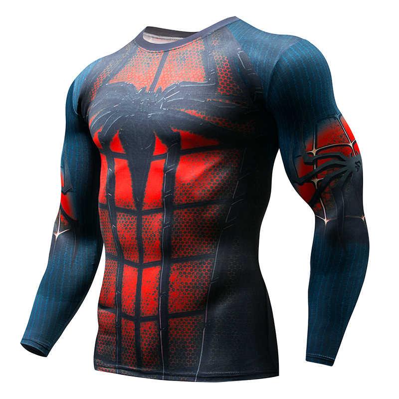 2018 גברים של דחיסת חולצה MMA Rashguard לשמור על כושר ארוך שרוול בסיס עור סקיני אלסטי כושר חולצה Homme