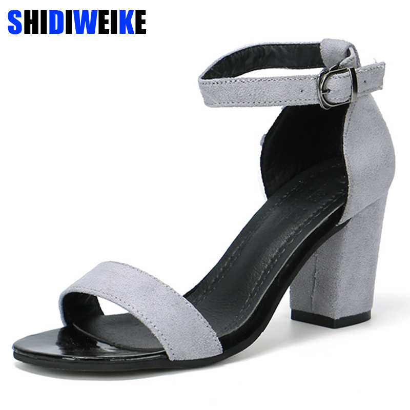 d22e945fd2 2019 new retro fashion sandals summer suede metal buckle national wind wild  simple high heels trend casual Women's single shoes