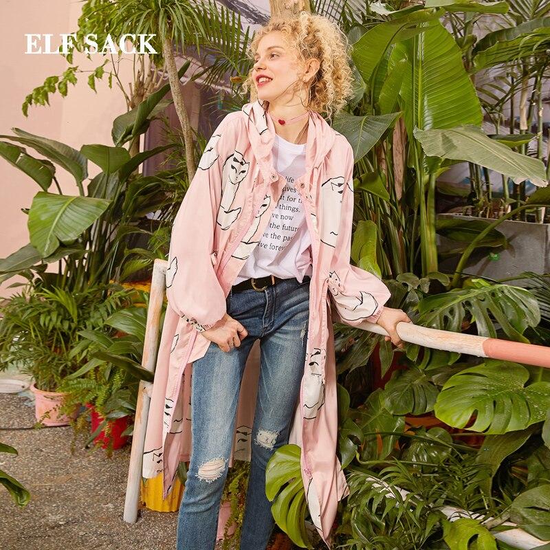 A coats ligne Tricoté Streetwear Chats Décontracté Dames Longue 2019 Trench Breasted Trench Double Femmes Tranchée Rose Imprimer Femme Sack Elf qTFY8vP