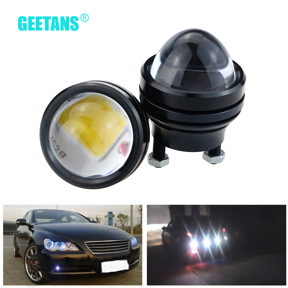 GEETANS 1 pasang 15W Siang berjalan siang 12V Super Bright LED Light Eagle Eagle DRL Lampu Kereta Parking kalis air Universal CB