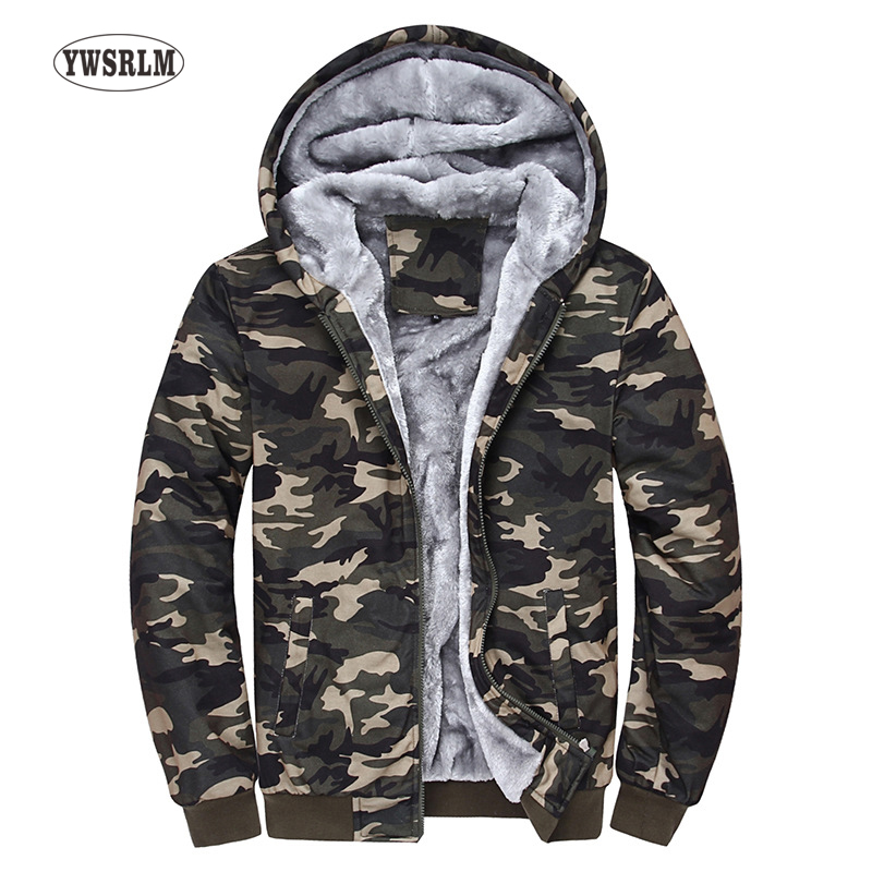 Winter Men Camo Hoodies Tracksuits Mens Hooded Fleeces Male Warm Thick Sweatshirt Camouflage Hoodies Plus Thick Velvet Coats