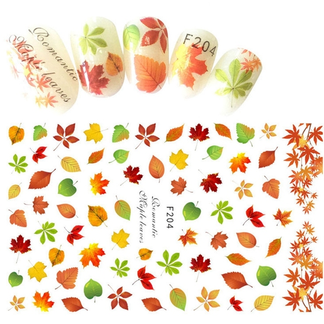 Mtssii 1 Sheet Nail Art Stickers Maple Leaf Water Transfer Nail ...